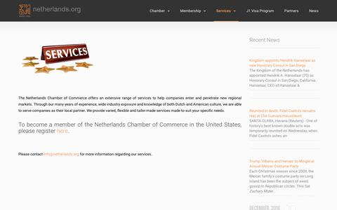 Screenshot of Services Page netherlands.org - Services – The Netherlands Chamber of Commerce in the United States - captured Dec. 1, 2016