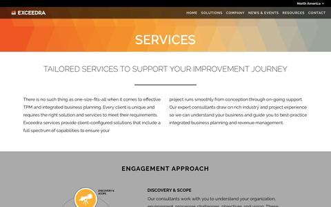 Screenshot of Services Page exceedra.com - Exceedra | Solution Overview - captured July 16, 2016