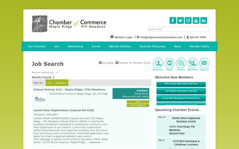 Screenshot of Jobs Page ridgemeadowschamber.com - Job Search - Ridge Meadows Chamber of Commerce, BRITISH COLUMBIA (BC) - captured Nov. 10, 2018