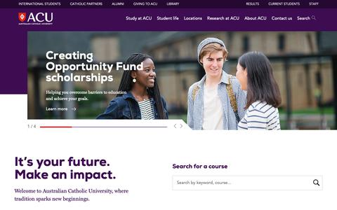 Screenshot of Home Page acu.edu.au - Australian Catholic University (ACU) - captured Dec. 12, 2018