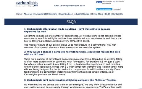 Screenshot of FAQ Page carbonlights.co.uk - Frequently asked questions and answers - captured May 9, 2017