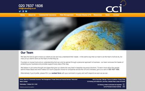 Screenshot of Team Page ccibroking.co.uk - CCI Broking Limited - Our Team - captured Oct. 1, 2014