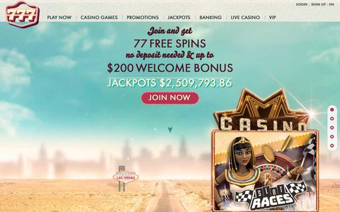 Screenshot of Home Page 777.com - Online casino | 777 casino | 77 FREE Spins – No deposit Needed - captured Sept. 23, 2018