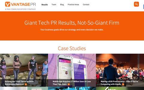 Screenshot of Services Page Case Studies Page vantagepr.com - Tech PR Agency that Drives Results | Vantage PR - captured Dec. 15, 2015