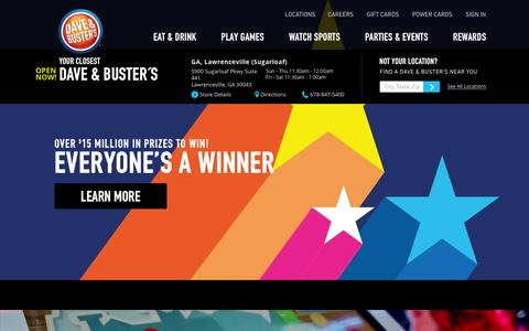Screenshot of Home Page daveandbusters.com - Dave & Buster's - Eat, Drink, Play & Watch Sports® all Under One Roof! - captured Feb. 8, 2016