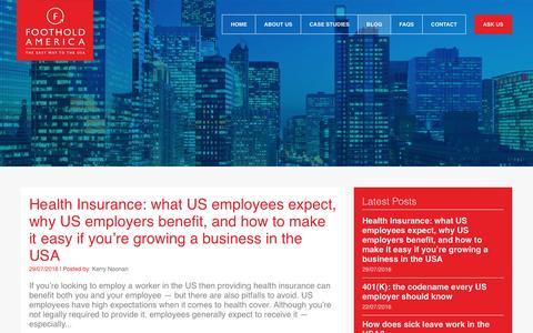 Screenshot of Blog footholdamerica.com - The easy way to employ a worker in the USA | Our Blog : Foothold America - captured Aug. 4, 2016