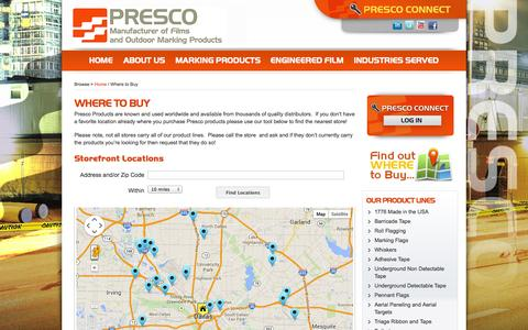 Screenshot of Locations Page presco.com - Where to Buy | Presco :: Manufacturer of Marking Products and Engineered Films - captured Oct. 3, 2014