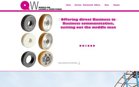 Screenshot of Home Page rollercoasterwheels.com - QW - Wheels for Leisure and Theme Parks - captured Oct. 2, 2014