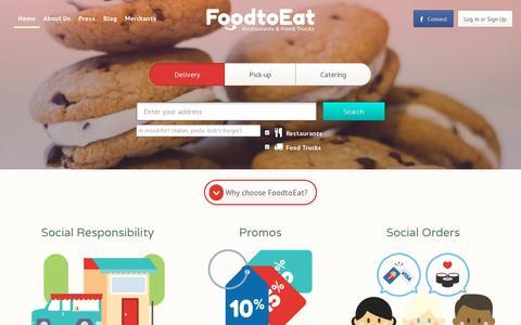 Screenshot of Home Page foodtoeat.com - FoodtoEat   Order Food Online   Pickup & Deliveries   Restaurants & Food Trucks - captured July 11, 2014