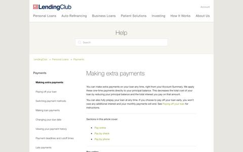 Screenshot of Support Page lendingclub.com - Making extra payments – LendingClub - captured June 27, 2018