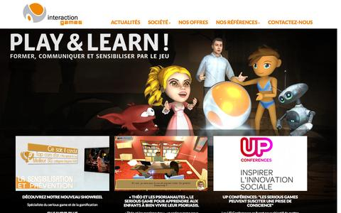 Screenshot of Home Page interaction-games.com - Interaction Games - Conception de Serious Games - captured Sept. 30, 2014