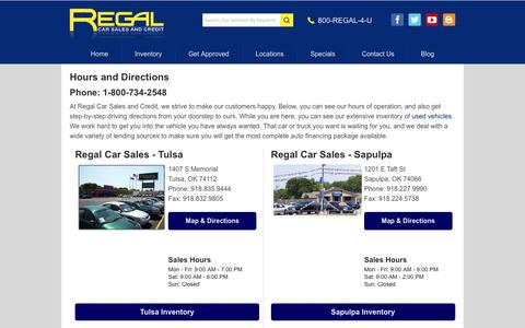 Screenshot of Locations Page regalcars.com - Directions to Regal Car Sales and Credit | Springfield, Missouri, Wichita, Kansas, Oklahoma City, Grove & Tulsa, Oklahoma | Used Vehicles & Auto Loans - captured Feb. 14, 2016