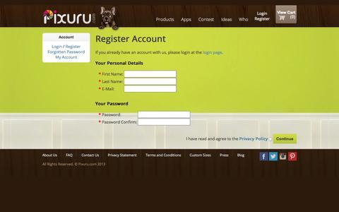 Screenshot of Signup Page pixuru.com - Register Account - captured Sept. 30, 2014