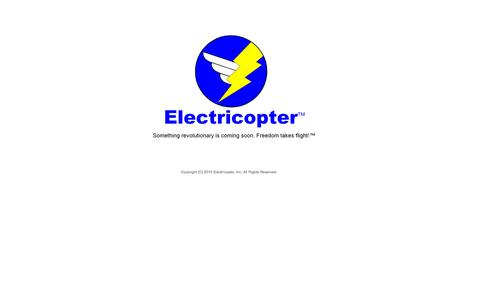 Screenshot of Home Page hecopter.com - Electricopter, Inc. Innovations in personal aviation. - captured Sept. 17, 2015
