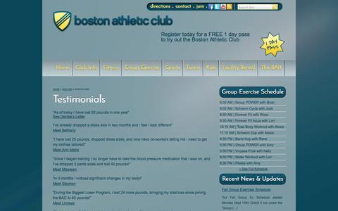 Screenshot of Testimonials Page bostonathleticclub.com - Testimonails and Presonal Success Stories   Boston Athletic Club - captured Sept. 30, 2014