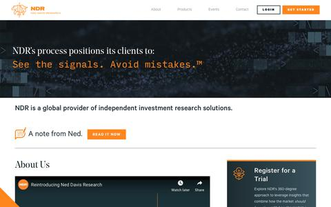 Screenshot of About Page ndr.com - About   NDR   Investment Research - captured Nov. 14, 2019