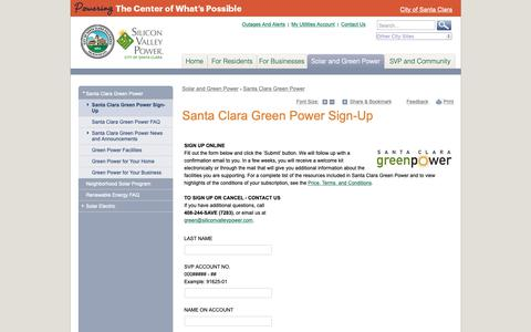 Screenshot of Signup Page siliconvalleypower.com - Santa Clara Green Power Sign-Up | Silicon Valley Power - captured Oct. 18, 2018