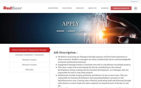 Screenshot of Jobs Page redseer.com - Top Job Consulting Firms in Bangalore India | Redseer - captured Nov. 18, 2018