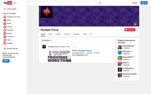 Screenshot of YouTube Page youtube.com - Squiggle Group  - YouTube - captured Oct. 24, 2014