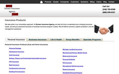 Screenshot of Products Page schoenagency.com - Insurance Products - Schoen Insurance Agency - Highland, Michigan 48357 - captured Oct. 2, 2018