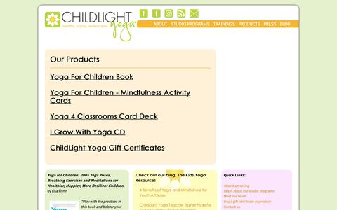 Screenshot of Products Page childlightyoga.com - Products - captured Nov. 4, 2018