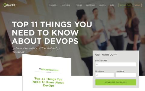 Screenshot of Landing Page leankit.com - Top 11 Things You to Know About DevOps eBook | LeanKit - captured April 26, 2016