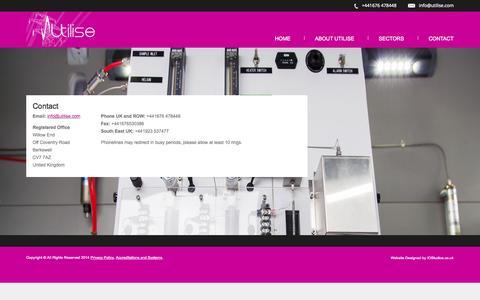 Screenshot of Contact Page utilise.com - Worldwide PFT Leak Location Specialists - Utilise - captured Nov. 5, 2014