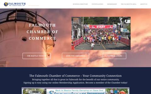 Screenshot of Home Page falmouthchamber.com - Falmouth Chamber of Commerce | Falmouth, MA 02540 - captured Oct. 10, 2018