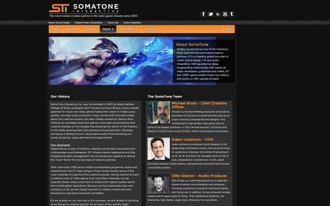 Screenshot of About Page somatone.com - About Us | SomaTone Audio - captured Oct. 6, 2014