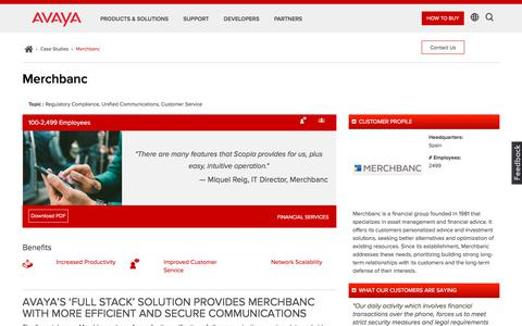 Screenshot of Case Studies Page avaya.com - Avaya Voice, Video & Network Solutions Case Study – Merchbanc – Avaya - captured Aug. 11, 2018
