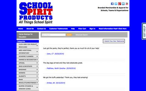 Screenshot of Testimonials Page schoolspiritproducts.com - School Spirit Products,  School Spirit Merchandise, Booster Club Spirit Items, PTA, PTO school items, - Testimonials - captured Oct. 4, 2014