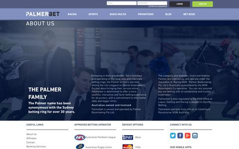 Screenshot of About Page palmerbet.com - Palmerbet - About Us | Sports & Horse Racing - captured July 15, 2018
