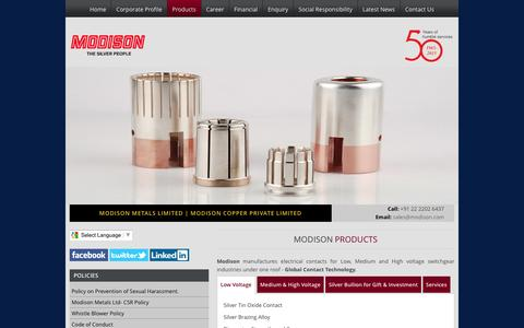 Screenshot of Products Page modison.com - Silver Assaying Service    Precious Metal Recovery Companies - Modison.com - captured July 21, 2016
