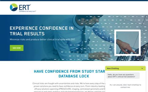 Screenshot of Landing Page ert.com - Experience Confidence in Trial Results - captured March 27, 2018