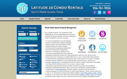Screenshot of About Page latitude26.com - South Padre Island Property Management - captured Jan. 26, 2016