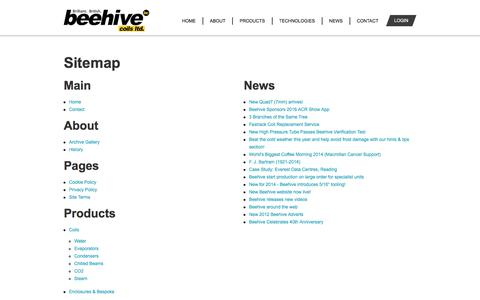 Screenshot of Site Map Page beehivecoils.co.uk - Beehive Coils Ltd - The experts in refrigeration, air conditioning and heat transfer equipment design and manufacture. Suffolk coil manufacturer. - captured Aug. 1, 2018