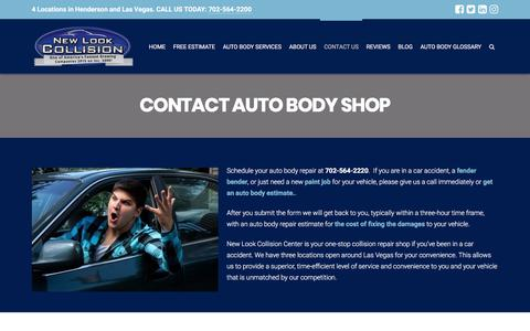 Screenshot of Contact Page newlookcollision.com - Contact New Look Collision Center - Las Vegas, Henderson - captured Sept. 2, 2017