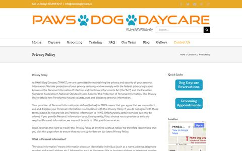 Screenshot of Privacy Page pawsdogdaycare.ca - Calgary Dog Daycare, Grooming, Training   –  Privacy Policy - captured Sept. 26, 2014