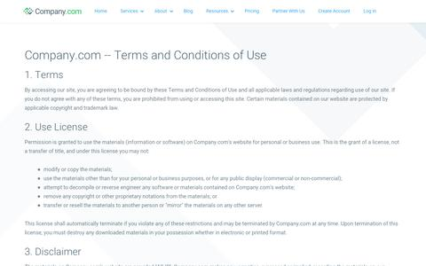 Screenshot of Terms Page company.com - Social Network & Resource Hub for Small Business | Company.com - captured July 26, 2019