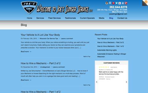 Screenshot of Blog joesslingerservice.com - Blog | Joe's Slinger Service - captured Feb. 11, 2016