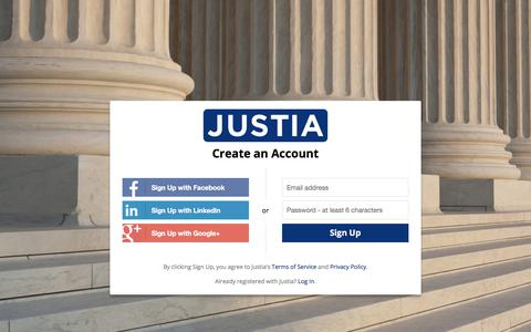 Screenshot of Signup Page justia.com - Sign Up - Justia Accounts - captured June 8, 2017