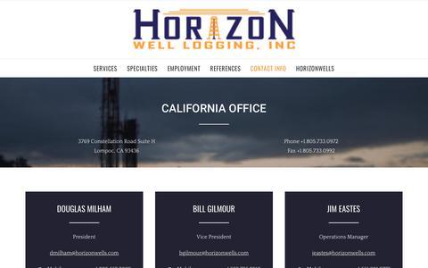 Screenshot of Contact Page horizon-well-logging.com - Contact Info – Horizon Well Logging, Inc. - captured Sept. 29, 2018