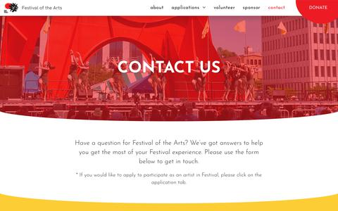 Screenshot of Contact Page festivalgr.org - Contact - Festival of the Arts - captured Oct. 10, 2018