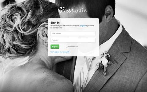 Screenshot of Login Page blissinvite.com - Sign in — BlissInvite: Mailing wedding invitations made easy - captured Oct. 5, 2014