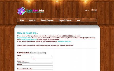 Screenshot of Contact Page lakart.biz - Contact Us - LakArt - captured Oct. 1, 2014