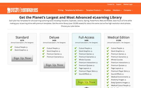 Screenshot of Pricing Page elearningtemplates.com - Pricing - eLearning Templates - captured Nov. 3, 2014