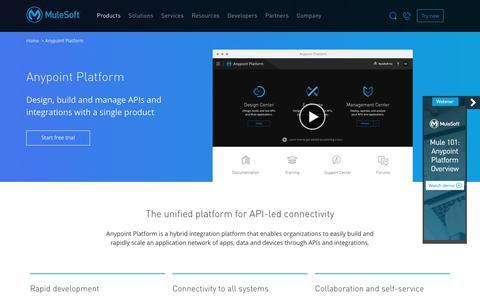Screenshot of Products Page mulesoft.com - Enterprise Hybrid Integration Platform   Anypoint Platform   MuleSoft - captured Nov. 27, 2017