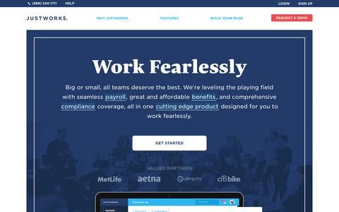 Screenshot of Home Page justworks.com - Payroll. Benefits. Compliance. | Justworks - captured Nov. 30, 2015