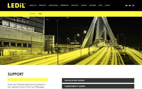 Screenshot of Support Page ledil.com - Support - LEDiL - captured Oct. 25, 2018