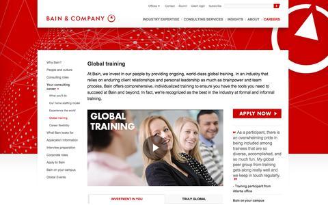 Screenshot of Jobs Page bain.com - Global training - Bain & Company - captured Nov. 1, 2017